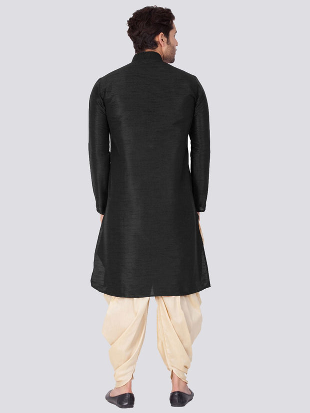 Men's Black Cotton Silk Blend Kurta and Dhoti Pant Set