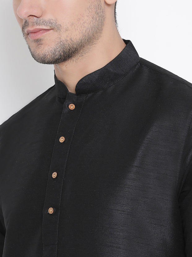 Men's Black Cotton Silk Blend Kurta and Pyjama Set