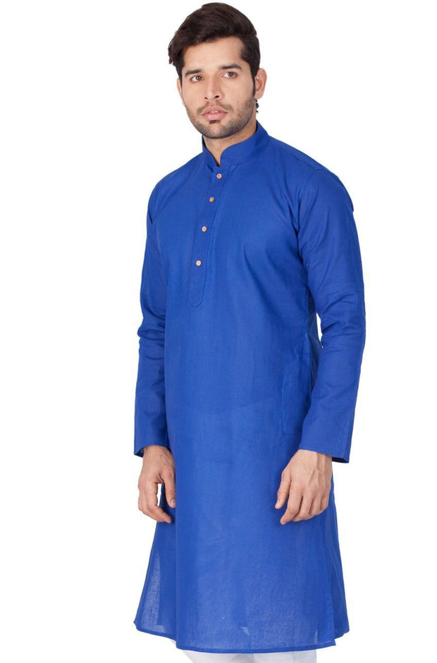 Men's Blue Linen Kurta