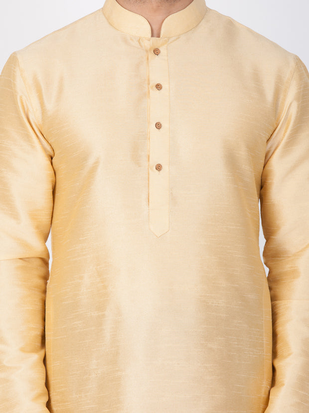 Men's Gold Cotton Silk Blend Kurta and Dhoti Pant Set