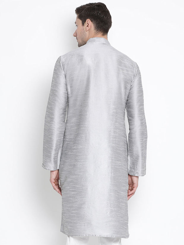 Men's Grey Cotton Silk Blend Kurta