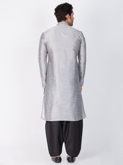 Men's Grey Cotton Silk Blend Kurta and Dhoti Pant Set