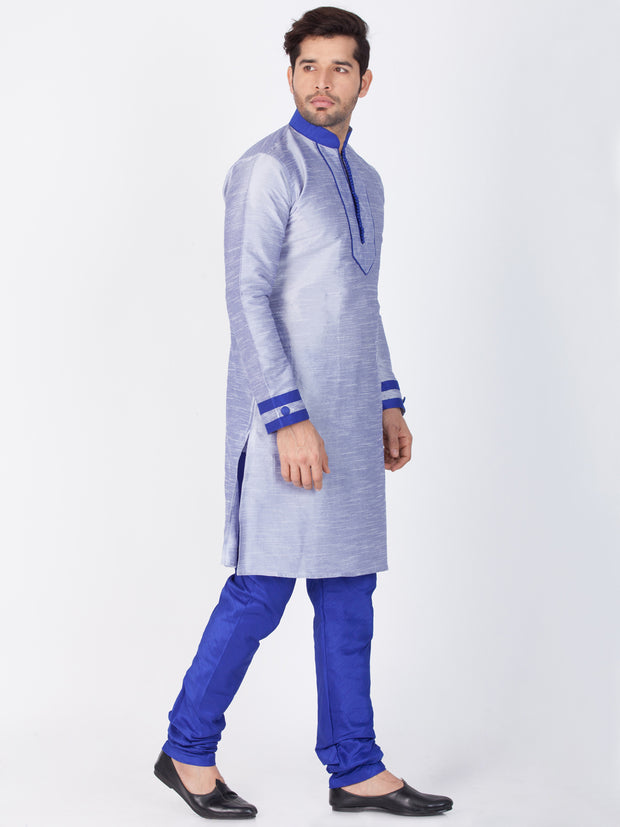 Men's Light Blue Cotton Silk Blend Kurta and Pyjama Set