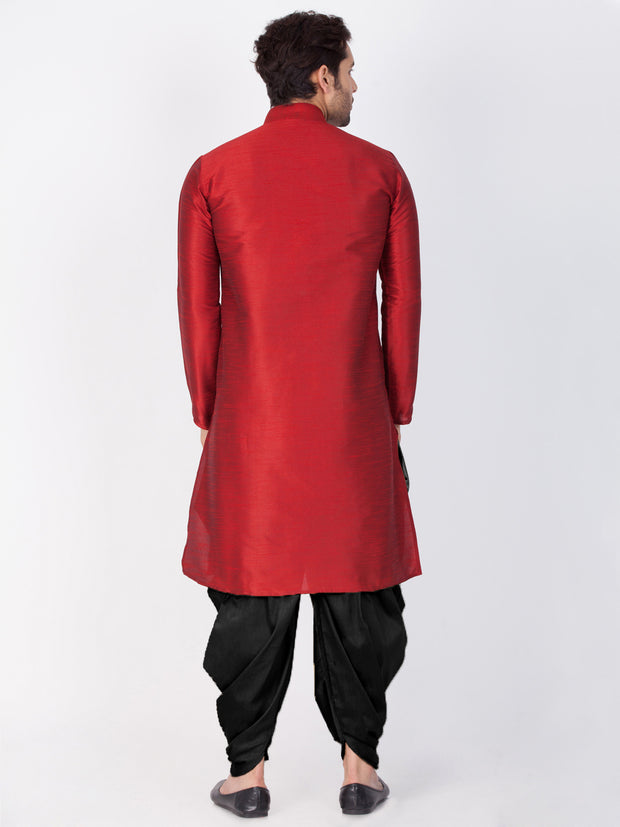 Men's Maroon Cotton Silk Blend Kurta and Dhoti Pant Set