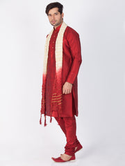 Men's Maroon Cotton Silk Blend Kurta, Pyjama & Dupatta Set