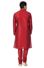 Men's Maroon Cotton Silk Blend Kurta and Pyjama Set