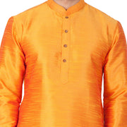 Men's Orange Cotton Silk Blend Kurta and Pyjama Set