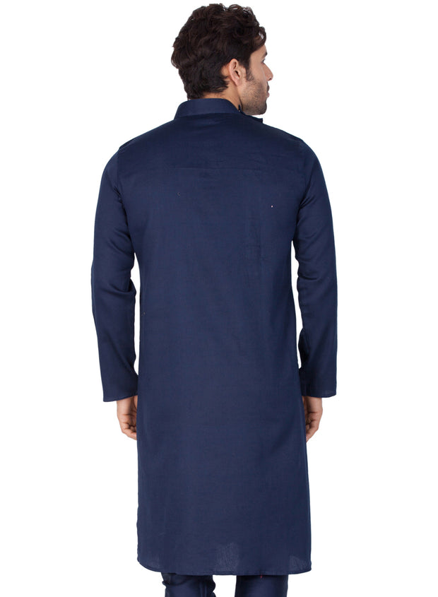 Men's Dark Blue Cotton Kurta