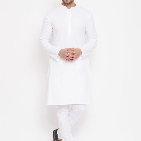 Vastramay Men's White Cotton Blend Kurta Pyjama Set