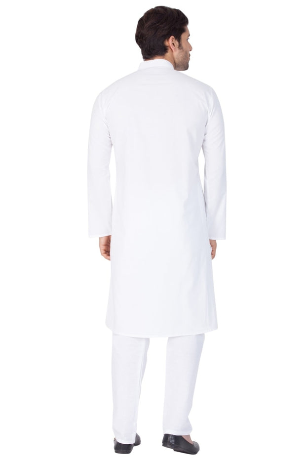 Men's White Cotton Kurta and Pyjama Set