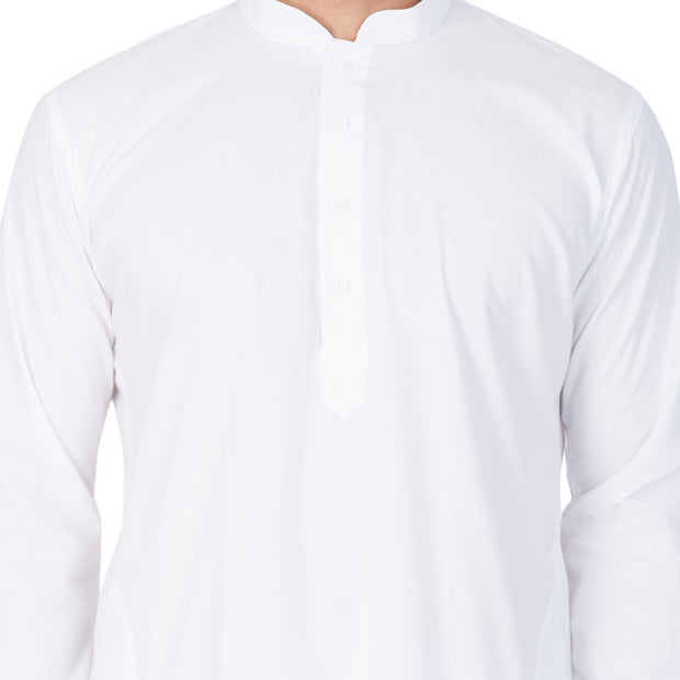 Men's White Cotton Kurta, Pyjama & Dupatta Set