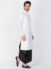 Men's White Cotton Silk Blend Kurta and Dhoti Pant Set