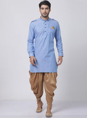 Men's Blue Cotton Blend Kurta and Dhoti Pant Set
