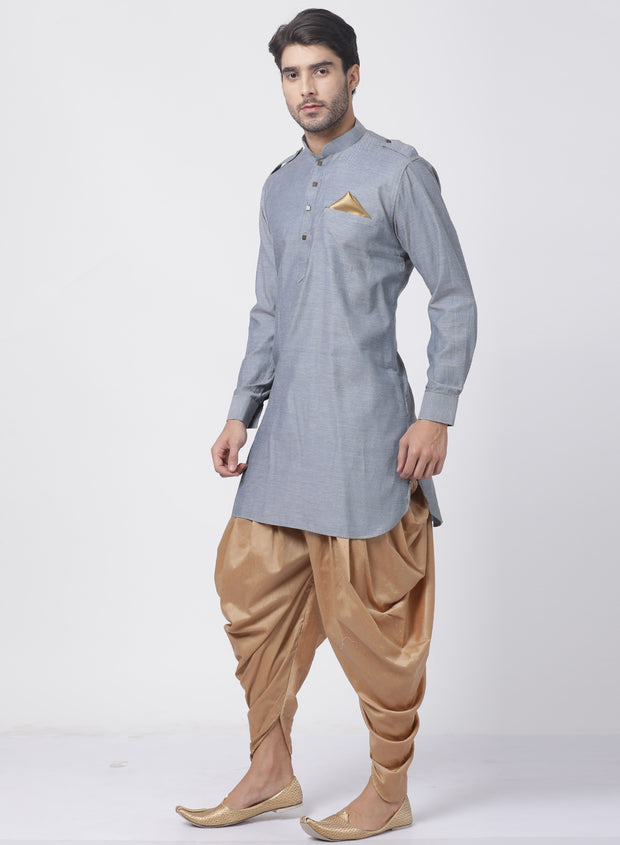 Men's Grey Cotton Kurta and Dhoti Pant Set