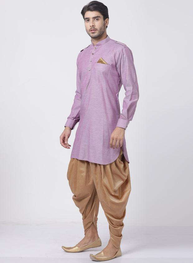 Men's Purple Cotton Kurta and Dhoti Pant Set