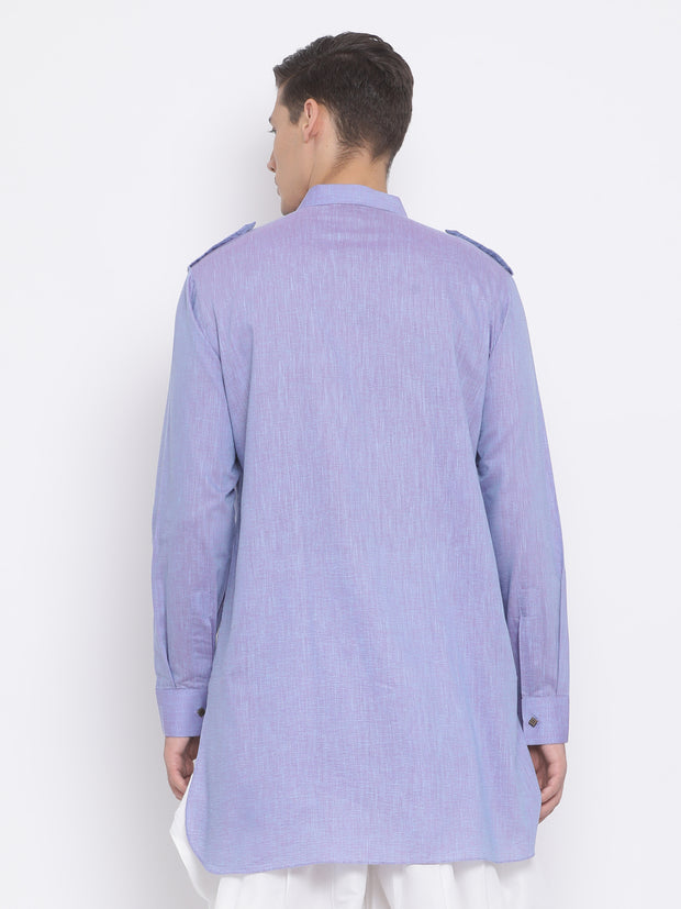 Men's Blue Cotton Kurta