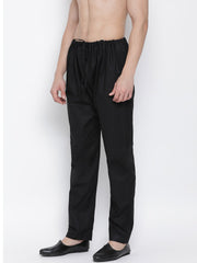 Men's Black Cotton Silk Blend Pyjama