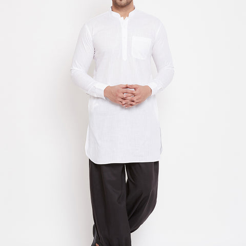 Vastramay Men's White And Black Cotton Linen Blend Pathani Kurta Set