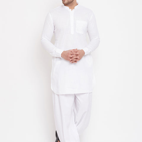 Vastramay Men's White Cotton Linen Blend Pathani Kurta Set