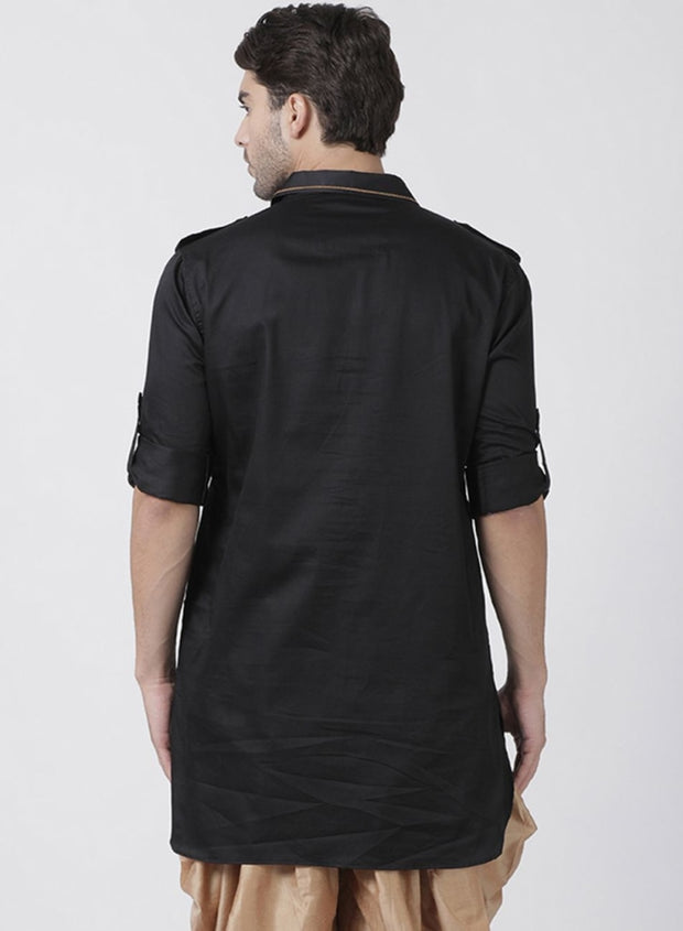 Men's Black Cotton Blend Kurta