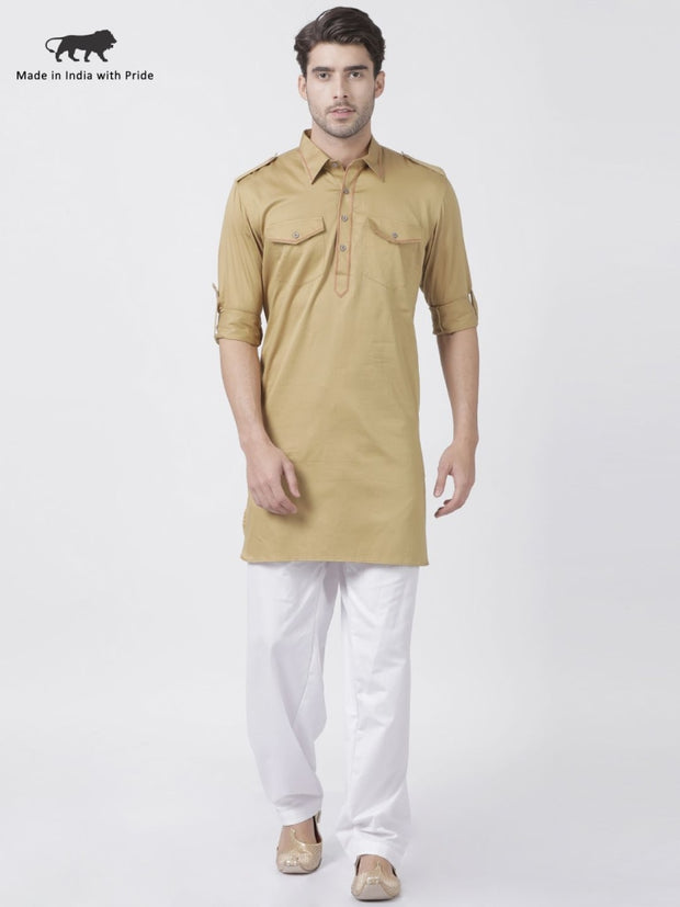 Men's Beige Cotton Blend Pathani Suit Set