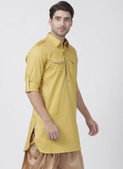 Men's Yellow Cotton Blend Kurta