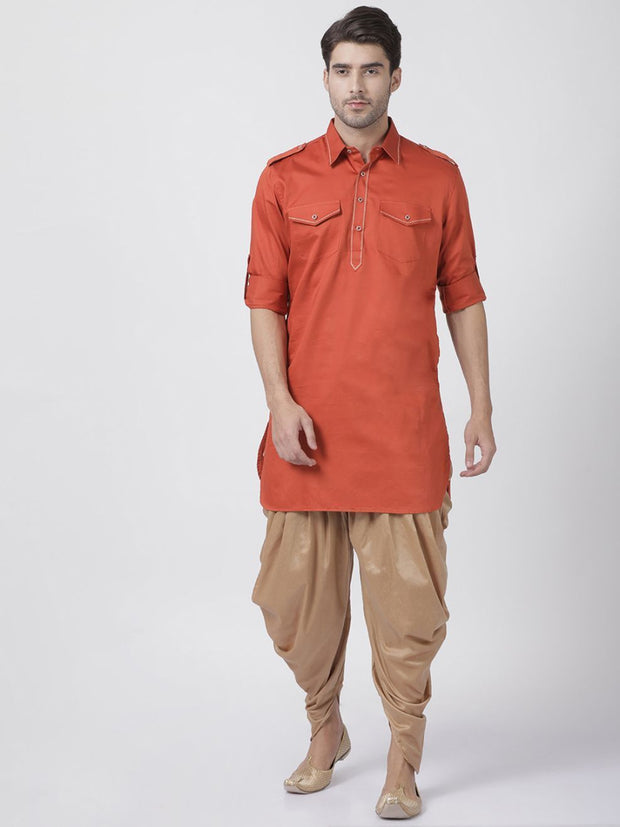 Men's Orange Cotton Blend Pathani Suit Set