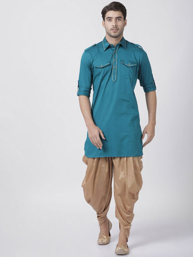 Men's Dark Green Cotton Blend Pathani Suit Set