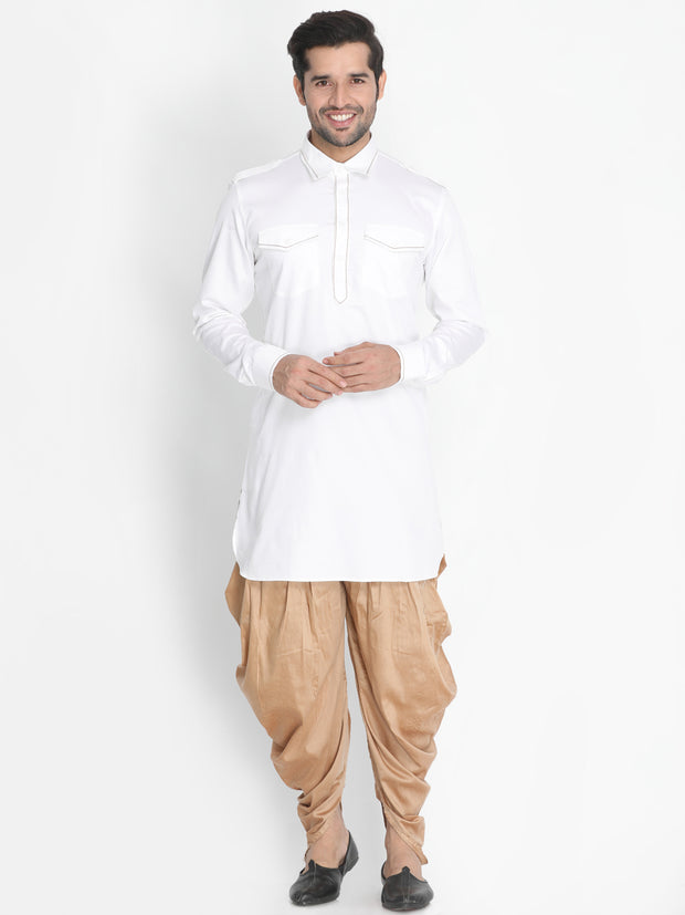 Men's White Cotton Blend Kurta