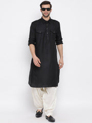Men's Black Cotton Blend Pathani Style Kurta
