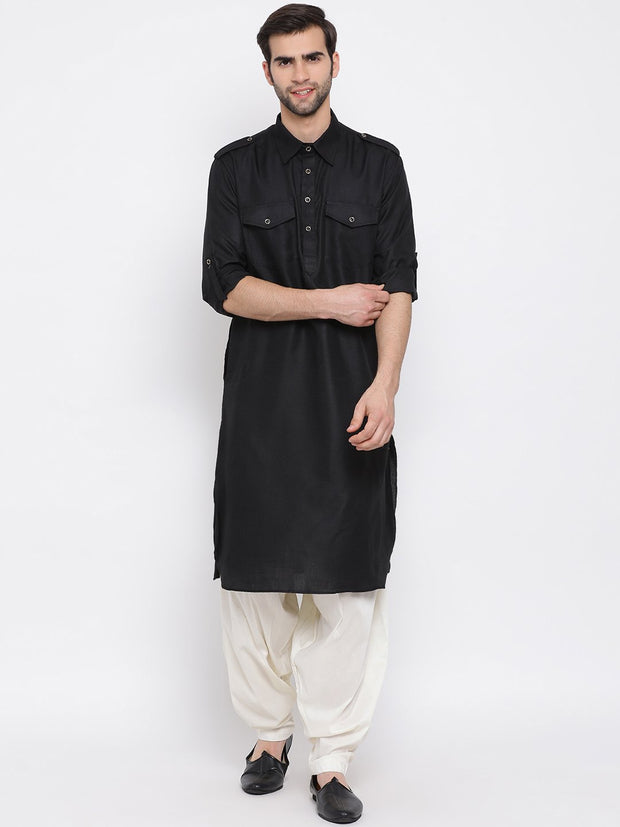 Men's Black Cotton Blend Pathani Suit Set