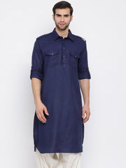 Men's Blue Cotton Blend Pathani Style Kurta