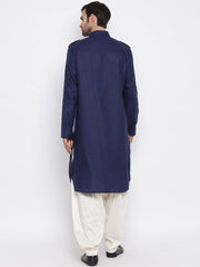 Men's Blue Cotton Blend Pathani Suit Set