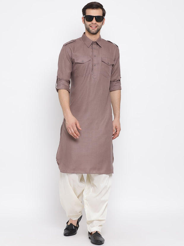 Men's Grey Cotton Blend Pathani Style Kurta