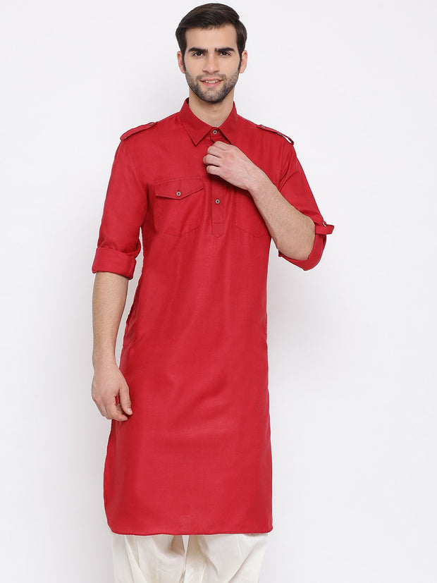 Men's Maroon Cotton Blend Pathani Style Kurta