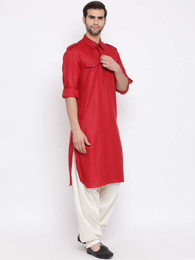 Men's Maroon Cotton Blend Pathani Suit Set