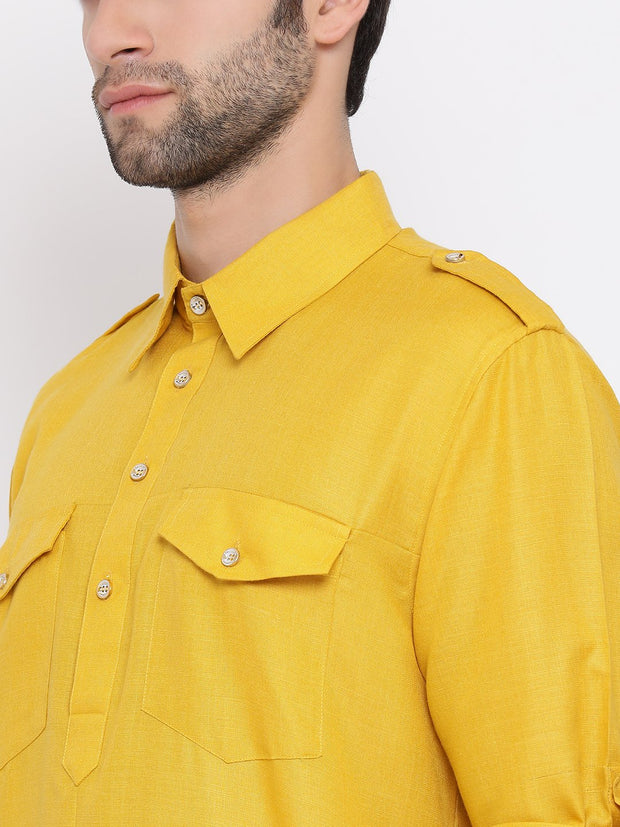 Men's Mustard Cotton Blend Pathani Style Kurta