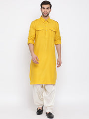 Men's Mustard Cotton Blend Pathani Suit Set