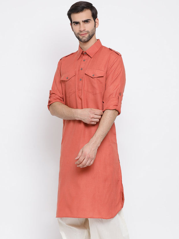 Men's Pink Cotton Blend Pathani Style Kurta