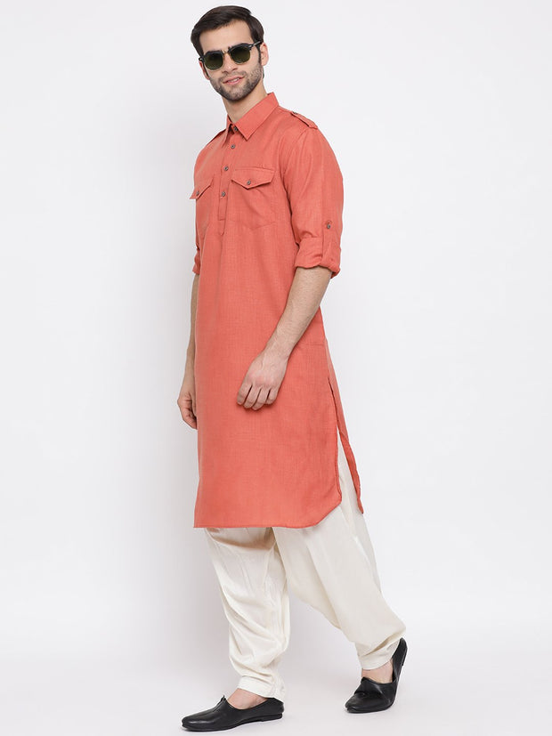 Men's Pink Cotton Blend Pathani Suit Set