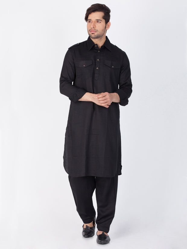 Men's Black Cotton Pathani Suit Set