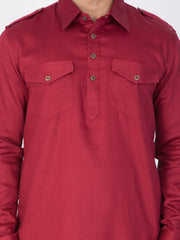 Men's Maroon Cotton Pathani Suit Set