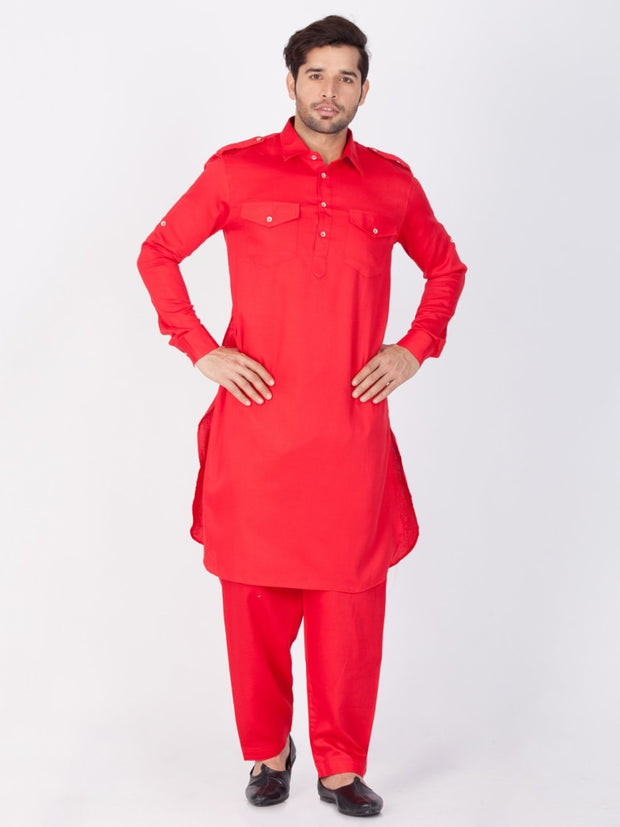 Bright red-coloured men's kurta makes you noticeable