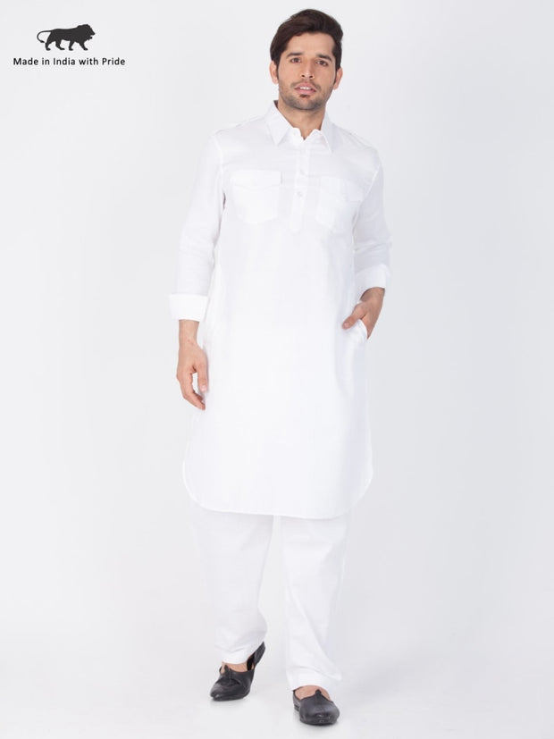 Introduce a sober look with this white pathani suit