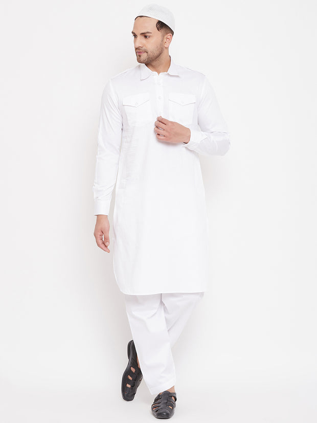 Vastramay Men's White Cotton Blend Pathani Kurta Set