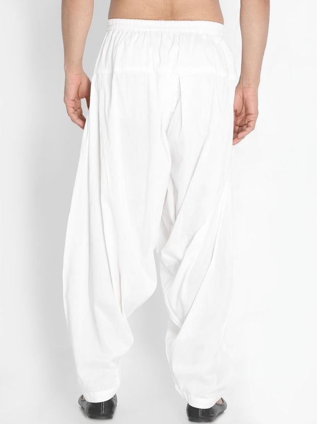 Men's White Cotton Blend Patiala Pyjama