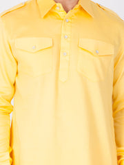 Men's Yellow Cotton Pathani Suit Set
