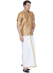 Men's Gold Cotton Silk Blend Shirt and Dhoti Set