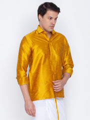 Men's Yellow Cotton Silk Blend Ethnic Shirt