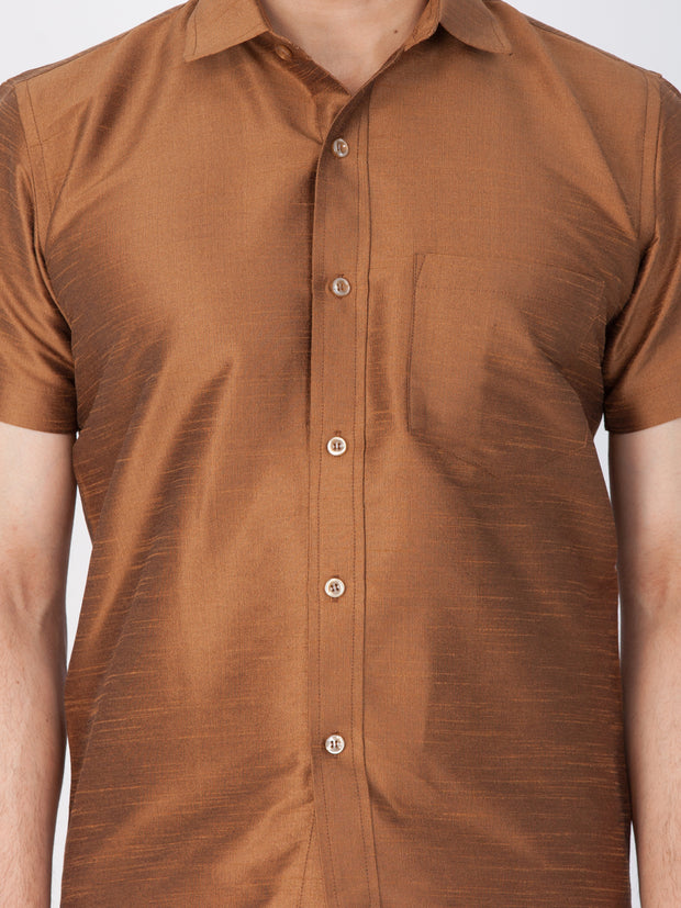 Men's Brown Cotton Silk Blend Ethnic Shirt